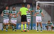 13 July 2021; Shamrock Rovers players, from left, Ronan Finn, Richie Towell, Liam Scales and Roberto Lopes appeal to referee Mario Zebec following a Slovan Bratislava goal during the UEFA Champions League first qualifying round second leg match between Shamrock Rovers and Slovan Bratislava at Tallaght Stadium in Dublin. Photo by Stephen McCarthy/Sportsfile