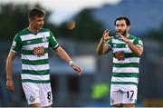 13 July 2021; Richie Towell of Shamrock Rovers with team-mate Ronan Finn during the UEFA Champions League first qualifying round second leg match between Shamrock Rovers and Slovan Bratislava at Tallaght Stadium in Dublin. Photo by Eóin Noonan/Sportsfile