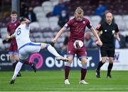 9 July 2021; David Hurley of Galway United in action against Darren Murphy of Cobh Ramblers during the SSE Airtricity League First Division match between Galway United and Cobh Ramblers at Eamonn Deacy Park in Galway. Photo by Piaras Ó Mídheach/Sportsfile