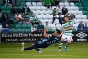 13 July 2021; Ronan Finn of Shamrock Rovers has a shot on goal during the UEFA Champions League first qualifying round second leg match between Shamrock Rovers and Slovan Bratislava at Tallaght Stadium in Dublin. Photo by Stephen McCarthy/Sportsfile