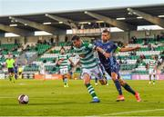 13 July 2021; Ronan Finn of Shamrock Rovers in action against Vasil Bozhikov of Slovan Bratislava during the UEFA Champions League first qualifying round second leg match between Shamrock Rovers and Slovan Bratislava at Tallaght Stadium in Dublin. Photo by Eóin Noonan/Sportsfile