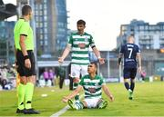 13 July 2021; Graham Burke of Shamrock Rovers and team-mate Ronan Finn during the UEFA Champions League first qualifying round second leg match between Shamrock Rovers and Slovan Bratislava at Tallaght Stadium in Dublin. Photo by Eóin Noonan/Sportsfile
