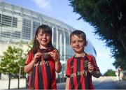 15 July 2021; Bohemians supporters Sarah and Aaron O'Toole, age six and four, from Celbridge, Kildare, before the UEFA Europa Conference League first qualifying round second leg match between Bohemians and Stjarnan at the Aviva Stadium in Dublin. Photo by Harry Murphy/Sportsfile