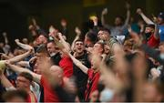 15 July 2021; Bohemians supporters celebrate thier side's first goal, scored by Georgie Kelly, during the UEFA Europa Conference League first qualifying round second leg match between Bohemians and Stjarnan at the Aviva Stadium in Dublin. Photo by Seb Daly/Sportsfile