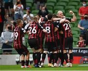 15 July 2021; Georgie Kelly of Bohemians, right, celebrates with team-mates after scoring their side's first goal during the UEFA Europa Conference League first qualifying round second leg match between Bohemians and Stjarnan at the Aviva Stadium in Dublin. Photo by Harry Murphy/Sportsfile