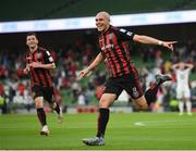 15 July 2021; Georgie Kelly of Bohemians celebrates after scoring his side's second goal during the UEFA Europa Conference League first qualifying round second leg match between Bohemians and Stjarnan at the Aviva Stadium in Dublin. Photo by Seb Daly/Sportsfile
