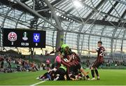 15 July 2021; Bohemians players celebrate their side's second goal, scored by Georgie Kelly, during the UEFA Europa Conference League first qualifying round second leg match between Bohemians and Stjarnan at the Aviva Stadium in Dublin. Photo by Seb Daly/Sportsfile