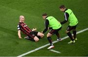 15 July 2021; Georgie Kelly, left, of Bohemians celebrates with team-mates Anto Breslin, centre, and Jamie Mullins after scoring his side's second goal during the UEFA Europa Conference League first qualifying round second leg match between Bohemians and Stjarnan at the Aviva Stadium in Dublin. Photo by Ben McShane/Sportsfile