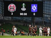 15 July 2021; Georgie Kelly and Anto Breslin of Bohemians celebrate after the UEFA Europa Conference League first qualifying round second leg match between Bohemians and Stjarnan at the Aviva Stadium in Dublin. Photo by Harry Murphy/Sportsfile