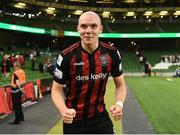 15 July 2021; Georgie Kelly of Bohemians celebrates after the UEFA Europa Conference League first qualifying round second leg match between Bohemians and Stjarnan at the Aviva Stadium in Dublin. Photo by Harry Murphy/Sportsfile