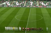15 July 2021; Players of both sides and officials line-up before the UEFA Europa Conference League first qualifying round second leg match between Bohemians and Stjarnan at the Aviva Stadium in Dublin. Photo by Ben McShane/Sportsfile