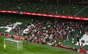 15 July 2021; Bohemians supporters in the South Stand during the UEFA Europa Conference League first qualifying round second leg match between Bohemians and Stjarnan at the Aviva Stadium in Dublin. Photo by Ben McShane/Sportsfile