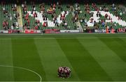 15 July 2021; Bohemians players huddle before the UEFA Europa Conference League first qualifying round second leg match between Bohemians and Stjarnan at the Aviva Stadium in Dublin. Photo by Ben McShane/Sportsfile