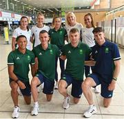 16 July 2021; Team Ireland's, back row, from left, Phil Healy, Sophie Becker, Michelle Finn, Sarah Lavin and Nadia Power. Front row, from left, Leon Reid, Chris O'Donnell, Marcus Lawler and Cillin Greene at Dublin Airport on their departure for the Tokyo 2020 Olympic Games. Photo by Ramsey Cardy/Sportsfile