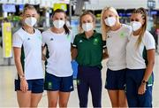 16 July 2021; Team Ireland's, from left, Sophie Becker, Phil Healy, Michelle Finn, Sarah Lavin and Nadia Power at Dublin Airport on their departure for the Tokyo 2020 Olympic Games. Photo by Ramsey Cardy/Sportsfile
