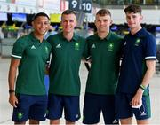 16 July 2021; Team Ireland's, from left, Leon Reid, Chris O'Donnell, Marcus Lawler and Cillin Greene at Dublin Airport on their departure for the Tokyo 2020 Olympic Games. Photo by Ramsey Cardy/Sportsfile