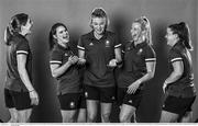 29 June 2021; (EDITOR'S NOTE; Image has been converted to black & white) The Team Ireland Hockey squad members, from left, Katie Mullan, Lizzie Holden, Zara Malseed, Ayeisha McFerran and Shirley McCay during a Tokyo 2020 Team Ireland Announcement for Hockey in the Sport Ireland Institute at the Sport Ireland Campus in Dublin. Photo by Brendan Moran/Sportsfile