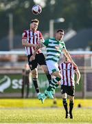 16 July 2021; Cameron McJannet of Derry City in action against Gary O'Neill of Shamrock Rovers during the SSE Airtricity League Premier Division match between Derry City and Shamrock Rovers at the Ryan McBride Brandywell Stadium in Derry. Photo by David Fitzgerald/Sportsfile