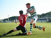 16 July 2021; Will Fitzgerald of Derry City in action against Liam Scales of Shamrock Rovers during the SSE Airtricity League Premier Division match between Derry City and Shamrock Rovers at the Ryan McBride Brandywell Stadium in Derry. Photo by David Fitzgerald/Sportsfile