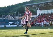 16 July 2021; Ronan Boyce of Derry City celebrates after scoring his side's first goal during the SSE Airtricity League Premier Division match between Derry City and Shamrock Rovers at the Ryan McBride Brandywell Stadium in Derry. Photo by David Fitzgerald/Sportsfile