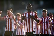16 July 2021; Junior Ogedi-Uzokwe of Derry City celebrates after scoring his side's second goal during the SSE Airtricity League Premier Division match between Derry City and Shamrock Rovers at the Ryan McBride Brandywell Stadium in Derry. Photo by David Fitzgerald/Sportsfile