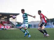 16 July 2021; Ronan Finn of Shamrock Rovers in action against Daniel Lafferty of Derry City during the SSE Airtricity League Premier Division match between Derry City and Shamrock Rovers at the Ryan McBride Brandywell Stadium in Derry. Photo by David Fitzgerald/Sportsfile