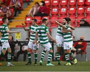 16 July 2021; Richie Towell of Shamrock Rovers, right, celebrates after scoring his side's fourth goal with team-mates during the SSE Airtricity League Premier Division match between Derry City and Shamrock Rovers at the Ryan McBride Brandywell Stadium in Derry. Photo by David Fitzgerald/Sportsfile