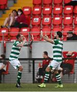 16 July 2021; Richie Towell of Shamrock Rovers, right, celebrates after scoring his side's fourth goal with team-mate Sean Kavanagh during the SSE Airtricity League Premier Division match between Derry City and Shamrock Rovers at the Ryan McBride Brandywell Stadium in Derry. Photo by David Fitzgerald/Sportsfile