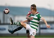 16 July 2021; Rory Gaffney of Shamrock Rovers in action against Ronan Boyce of Derry City during the SSE Airtricity League Premier Division match between Derry City and Shamrock Rovers at the Ryan McBride Brandywell Stadium in Derry. Photo by David Fitzgerald/Sportsfile