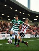 16 July 2021; Ronan Finn of Shamrock Rovers in action against Ciaron Harkin of Derry City during the SSE Airtricity League Premier Division match between Derry City and Shamrock Rovers at the Ryan McBride Brandywell Stadium in Derry. Photo by David Fitzgerald/Sportsfile