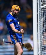 17 July 2021; Clare goalkeeper Eibhear Quilligan celebrates his side's first goal, scored by team-mate Cathal Malone, during the GAA Hurling All-Ireland Senior Championship Round 1 match between Clare and Wexford at Semple Stadium in Thurles, Tipperary. Photo by Piaras Ó Mídheach/Sportsfile