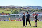 17 July 2021; Armagh manager Kieran McGeeney, left, in conversation with selectors Kieran Donaghy, centre, and Ciaran McKeever before the Ulster GAA Football Senior Championship Semi-Final match between Armagh and Monaghan at Páirc Esler in Newry, Down. Photo by Ramsey Cardy/Sportsfile