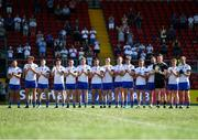 17 July 2021; The Monaghan team stand for a moments applause in memory of Monaghan Under-20 captain Brendán Óg Duffy before the the Ulster GAA Football Senior Championship Semi-Final match between Armagh and Monaghan at Páirc Esler in Newry, Down. Photo by Sam Barnes/Sportsfile