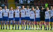17 July 2021; The Monaghan team stand for a moments silence in memory of Monaghan Under-20 captain Brendán Óg Duffy before the the Ulster GAA Football Senior Championship Semi-Final match between Armagh and Monaghan at Páirc Esler in Newry, Down. Photo by Sam Barnes/Sportsfile