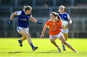 17 July 2021; Aimee Mackin of Armagh in action against Laura Fitzpatrick of Cavan during the TG4 All-Ireland Senior Ladies Football Championship Group 2 Round 2 match between Armagh and Cavan at St Tiernach's Park in Monaghan. Photo by Ben McShane/Sportsfile
