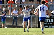 17 July 2021; Conor McManus, left, and Jack McCarron of Monaghan celebrate after their side's victory in the Ulster GAA Football Senior Championship Semi-Final match between Armagh and Monaghan at Páirc Esler in Newry, Down. Photo by Sam Barnes/Sportsfile