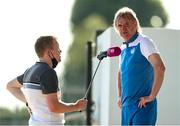 17 July 2021; Finn Harps manager Ollie Horgan is interviewed by Highland Radio after the SSE Airtricity League Premier Division match between Dundalk and Finn Harps at Oriel Park in Dundalk, Louth. Photo by Michael P Ryan/Sportsfile