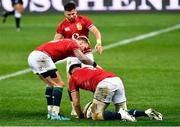 17 July 2021; Stuart Hogg, left, congratulates team-mate Jack Conan of British and Irish Lions after he scored his side's fourth try during the British and Irish Lions Tour match between DHL Stormers and The British & Irish Lions at Cape Town Stadium in Cape Town, South Africa. Photo by Ashley Vlotman/Sportsfile