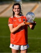 17 July 2021; Aimee Mackin of Armagh with her TG4 Player of the Match award after the TG4 All-Ireland Senior Ladies Football Championship Group 2 Round 2 match between Armagh and Cavan at St Tiernach's Park in Monaghan. Photo by Ben McShane/Sportsfile
