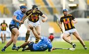 17 July 2021; Walter Walsh of Kilkenny breaks the tackle of Conor Burke, left, and Paddy Smyth of Dublin during the Leinster GAA Senior Hurling Championship Final match between Dublin and Kilkenny at Croke Park in Dublin. Photo by Eóin Noonan/Sportsfile