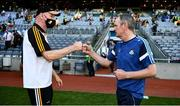 17 July 2021; The two managers Brian Cody, left, of Kilkenny and Dublin manager Mattie Kenny after the Leinster GAA Senior Hurling Championship Final match between Dublin and Kilkenny at Croke Park in Dublin. Photo by Ray McManus/Sportsfile