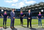 20 July 2021; ZuCar are the LGFA's new and official Performance Partner. At the conclusion of the 2021 TG4 All-Ireland Championships, winners will be presented with the ZuCar Golden Boot & ZuCar Golden Glove awards. ZuCar have also been announced as sponsors of the LGFA's Gaelic4Teens development programme. In attendance to mark the announcement at Croke Park are Mícheál Naughton, LGFA President, second from left, and Gavin Hydes, ZuCar CEO, second from right, with LGFA Gaelic4Teens ambassadors from left, Sinead Delahunty, Cliodhna O'Connor and Sharon Courtney. Photo by Sam Barnes/Sportsfile