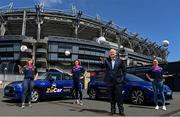 20 July 2021; ZuCar are the LGFA's new and official Performance Partner. At the conclusion of the 2021 TG4 All-Ireland Championships, winners will be presented with the ZuCar Golden Boot & ZuCar Golden Glove awards. ZuCar have also been announced as sponsors of the LGFA's Gaelic4Teens development programme. In attendance to mark the announcement at Croke Park is Gavin Hydes, ZuCar CEO, second from right, with LGFA Gaelic4Teens ambassadors from left, Sinead Delahunty, Cliodhna O'Connor and Sharon Courtney. Photo by Sam Barnes/Sportsfile