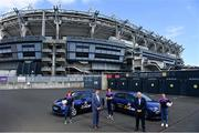 20 July 2021; ZuCar are the LGFA's new and official Performance Partner. At the conclusion of the 2021 TG4 All-Ireland Championships, winners will be presented with the ZuCar Golden Boot & ZuCar Golden Glove awards. ZuCar have also been announced as sponsors of the LGFA's Gaelic4Teens development programme. In attendance to mark the announcement at Croke Park are Mícheál Naughton, LGFA President, second from left, and Gavin Hydes, ZuCar CEO, second from right, with Gaelic4Teens ambassadors from left, Sinead Delahunty, Cliodhna O'Connor and Sharon Courtney. Photo by Sam Barnes/Sportsfile