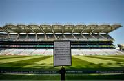18 July 2021; A sign illustrating when teams can walk the pitch before the Leinster GAA Senior Football Championship Semi-Final match between Dublin and Meath at Croke Park in Dublin. Photo by Eóin Noonan/Sportsfile