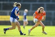 17 July 2021; Aimee Mackin of Armagh and Laura Fitzpatrick of Cavan during the TG4 All-Ireland Senior Ladies Football Championship Group 2 Round 2 match between Armagh and Cavan at St Tiernach's Park in Monaghan. Photo by Ben McShane/Sportsfile