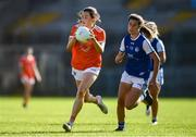 17 July 2021; Aimee Mackin of Armagh and Ciara Finnegan of Cavan during the TG4 All-Ireland Senior Ladies Football Championship Group 2 Round 2 match between Armagh and Cavan at St Tiernach's Park in Monaghan. Photo by Ben McShane/Sportsfile