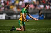 18 July 2021; Michael Langan of Donegal remonstrates with the Umpire after being tackled during the Ulster GAA Football Senior Championship Semi-Final match between Donegal and Tyrone at Brewster Park in Enniskillen, Fermanagh. Photo by Ben McShane/Sportsfile