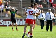18 July 2021; Cathal McShane, right, and Darren McCurry of Tyrone, celebrate after their sides victory in the Ulster GAA Football Senior Championship Semi-Final match between Donegal and Tyrone at Brewster Park in Enniskillen, Fermanagh. Photo by Sam Barnes/Sportsfile