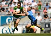 18 July 2021; Bryan McMahon of Meath in action against Paddy Small of Dublin during the Leinster GAA Senior Football Championship Semi-Final match between Dublin and Meath at Croke Park in Dublin. Photo by Harry Murphy/Sportsfile